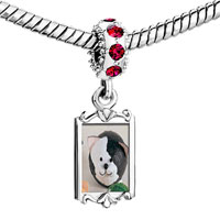 Charms Beads - red crystal dangle puffball black white cat Image.