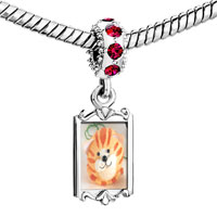 Charms Beads - red crystal dangle puffball cat Image.