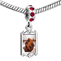Charms Beads - red crystal dangle eight day hanukkah dreidel Image.