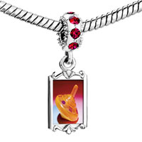 Charms Beads - red crystal dangle plastic orange dreidel Image.