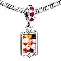 Charms Beads - red crystal dangle mr. &  mrs.  snowman Image.