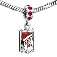 Charms Beads - red crystal dangle surprised santa Image.