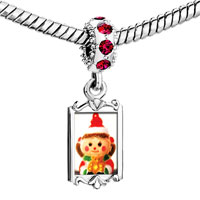 Charms Beads - red crystal dangle christmas doll Image.
