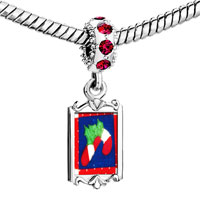 Charms Beads - red crystal dangle cy cane quilt Image.