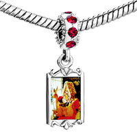 Charms Beads - red crystal dangle cozy gingerbread house Image.
