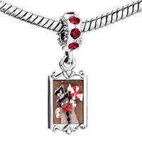 Charms Beads - ruby red swarovski crystal dangle gingerbread man cookie and candy silver plated fit all brands charms bracelets Image.