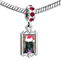 Charms Beads - red crystal dangle christmas dog Image.