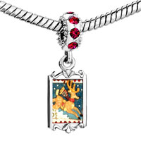 Charms Beads - red crystal dangle christmas rudolph reindeer stamp Image.