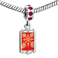 Charms Beads - red crystal dangle embroidered cloth Image.