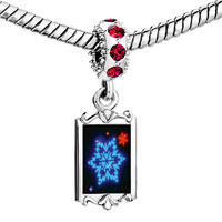 Charms Beads - red crystal dangle neon snow flakes Image.