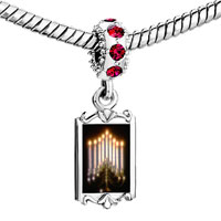 Charms Beads - red crystal dangle lit menorah Image.