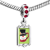 Charms Beads - red crystal dangle snowman mug Image.