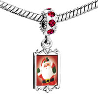 Charms Beads - red crystal dangle merry santa Image.