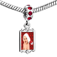 Charms Beads - red crystal dangle baby santa Image.