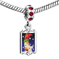 Charms Beads - red crystal dangle santa crescent Image.