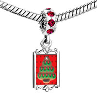 Charms Beads - red crystal dangle gingerbread christmas tree Image.