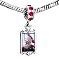 Charms Beads - red crystal dangle santa statue Image.