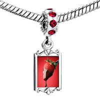 Charms Beads - red crystal dangle chocolate dipped strawberry Image.