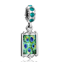 Blue Crystal Dangle Green Peacock Feathers Photo Beads Charms Bracelets