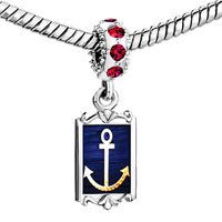 Charms Beads - red crystal dangle nautical anchor symbol fit all charms bracelets Image.