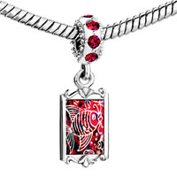 Charms Beads - red crystal dangle fish on Image.
