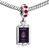 Charms Beads - red crystal dangle usa passport Image.