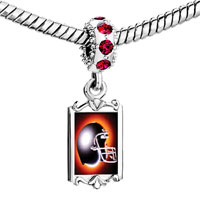 Charms Beads - red crystal dangle football helmet black Image.