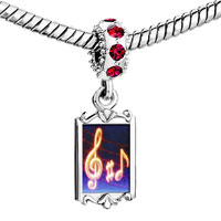 Charms Beads - red crystal dangle music note g treble clef Image.