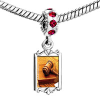 Charms Beads - red crystal dangle judge' s tool gavel Image.