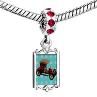 Charms Beads - red crystal dangle miniature antique car Image.