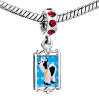 Charms Beads - red crystal dangle toy cow Image.