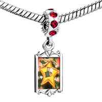 Charms Beads - red crystal dangle quilted star ornament Image.