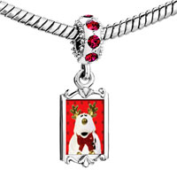 Charms Beads - red crystal dangle christmas rudolph reindeer stuffed animal Image.