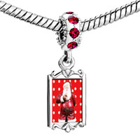 Charms Beads - red crystal dangle quiet santa Image.