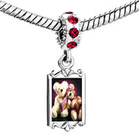 Charms Beads - red crystal dangle teddy bear story time Image.