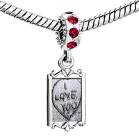 Charms Beads - red crystal dangle love s Image.