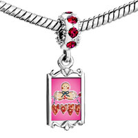 Charms Beads - red crystal dangle gingerbread noel Image.
