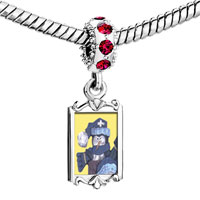 Charms Beads - red crystal dangle snowman doll Image.