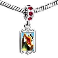 Charms Beads - red crystal dangle funky frog Image.
