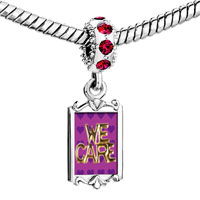 Charms Beads - red crystal dangle we care Image.