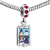 Charms Beads - red crystal dangle snowman carolers Image.
