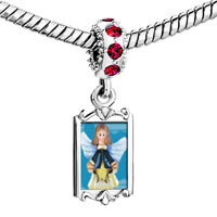 Charms Beads - red crystal dangle angel star Image.