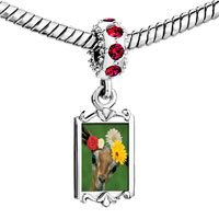 Charms Beads - red crystal dangle doe flowers Image.