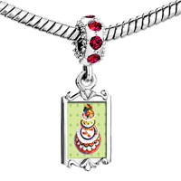Charms Beads - red crystal dangle tiered birthday cake Image.