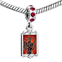 Charms Beads - red crystal dangle bodhisatva chenrezig statue Image.