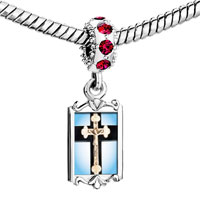 Charms Beads - red crystal dangle ivory crcifix on cross Image.