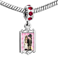 Charms Beads - red crystal dangle little bride &  groom Image.