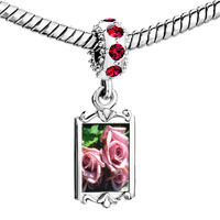 Charms Beads - red crystal dangle dusty pink roses Image.