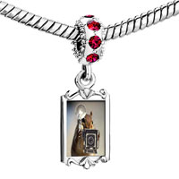 Charms Beads - red crystal dangle squirrel taking photos Image.