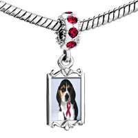 Charms Beads - red crystal dangle puppy wearing ribbon Image.